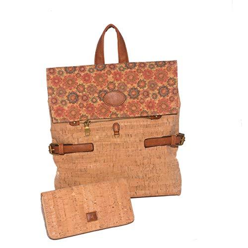 Portugiesischer Korken-Diebstahlsack-Rucksack mit Geschenk-Brieftasche, Brieftasche, Kartenhalter, Veganer Geldbörse, ökologischen Geschenken für Frauen, großer Kapazität, Qualität (Farbe 7)