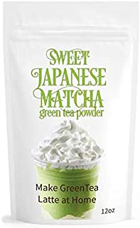 Sweet Japanese Matcha Green Tea Powder Mix - 12oz Homemade Matcha Green Tea Latte or Frappe