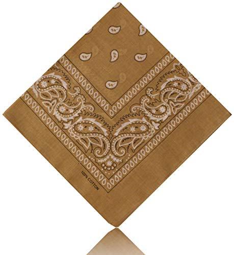 All u need Bandana Muster Scarf Nikki Tuch Kopftuch Cotton 100% Baumwolle Travel Reisen Schal (Paisley Beige)