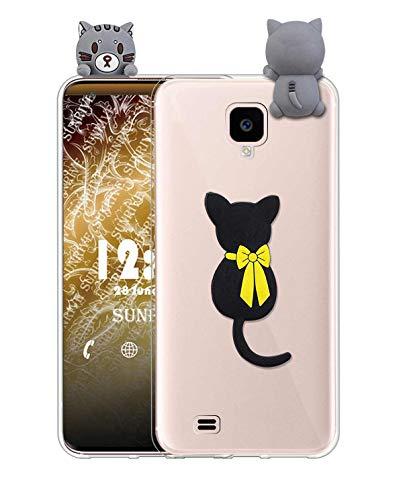 Sunrive Cover per Samsung Galaxy S4, Custodia 3D Case in Molle Trasparente TPU Silicone Morbida Flessibile AntiGraffio Protettiva Protector Back custodie Bumper(W1 Gatto)