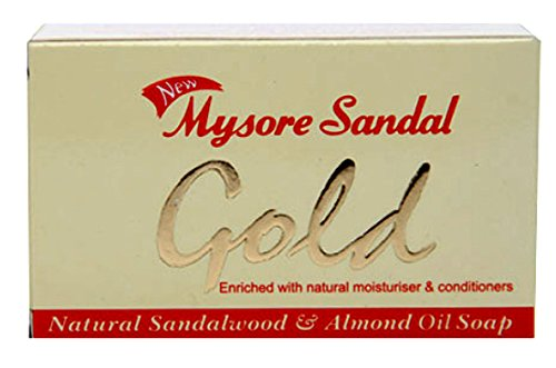 Mysore Sandal Gold Soap, 125 Grams Per Unit (Pack of 6) - Purest Sandalwood Soap - 100% Pure Essential Oils - Grade 1 Soap - TFM 80% - Suitable for ALL Skin Type - Enriched with Natural Moisturizer & Conditioners - Zero Dryness - Natural Sandalwood & Almond Oil Soap