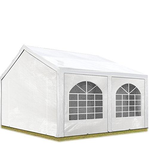 TOOLPORT Hochwertiges Partyzelt 3x5 m Pavillon Zelt ca. 240g/m² PE Plane Gartenzelt Festzelt Wasserdicht weiß