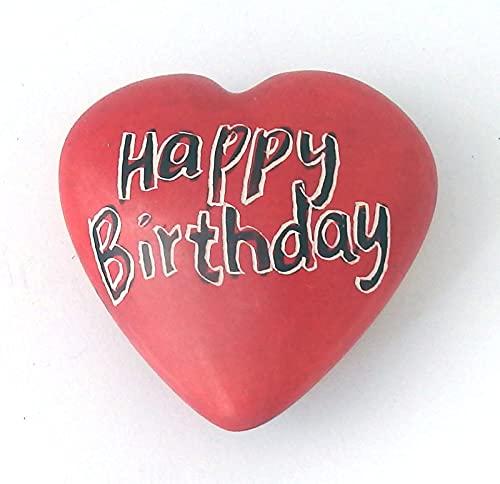 "Speckstein-hart rood ""Happy Birthday/Ballons"" ca. 4x4cm"