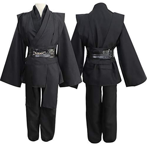 Star Wars Dark Jedi Revenge of The Sith Anakin Skywalker Cosplay Costume Men Jedi Knight Costume Male Fancy Dress Robe XL Black Set