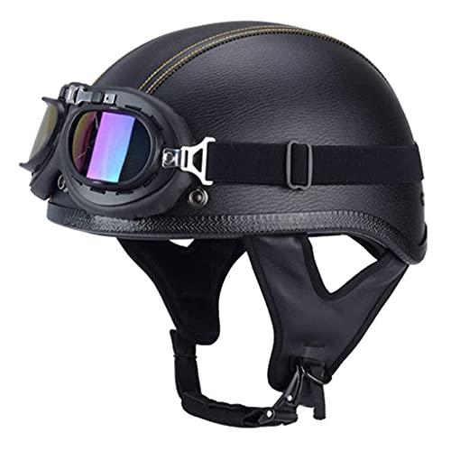 MRDAER Cascos de Cuero de la Mitad de la Vendimia para la Motocicleta con Gafas Casco de Turismo de Motociclista Crucero Scooter con Lente de Sol desplegable Certificación de Seguridad ECE