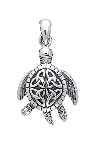 Jewelry Trends Sterling Silver Celtic Turtle Trinity Knot Pendant
