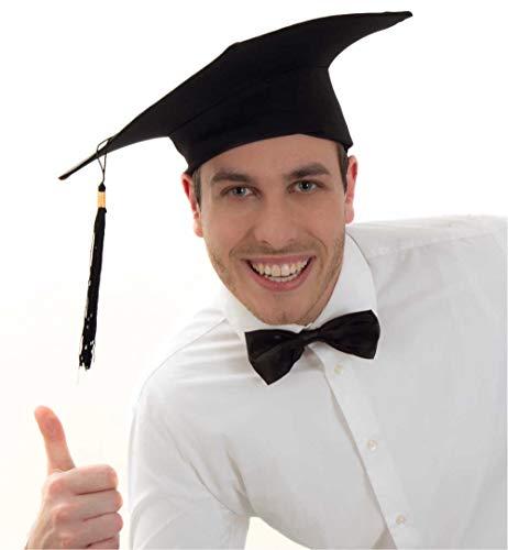 KarnevalsTeufel Bachelor-Hut in schwarz mit Quaste Doktorhut Absolvent Abschlussfeier Diplom Abitur Promotion Universität