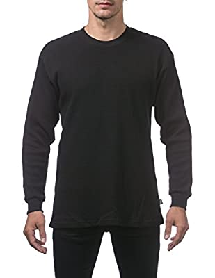 Pro Club Men's Heavyweight Cotton Long Sleeve Thermal Top, X-Large, Black
