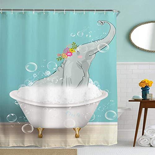 ufengke Duschvorhang Elefant mit 12 Haken Blau Duschvorhang aus Stoff Polyester Wasserdicht Anti Schimmel für Badezimmer (180X180 cm)