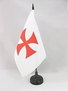 AZ FLAG Templar Order Table Flag 5'' x 8'' - Catholic Desk Flag 21 x 14 cm - Black Plastic Stick and Base