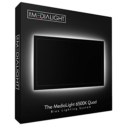 MediaLight Quad 6500K Bias Lighting System for TVs up to 75' (122 LED's) with Remote Controlled dimmer