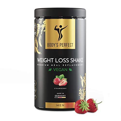 BODY'S PERFECT® Weight Loss Shake VEGAN für Männer, Diät Shake zur Gewichtskontrolle mit hochwertigem Protein, Mahlzeitersatz mit allen wichtigen Vitaminen und Mineralstoffen, 500g (Erdbeere)