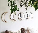 Scandinavian Natural Decor Acrylic Moon Phase Mirrors Decorative Interior Design Wooden Moon Phase Mirror Bohemia Wall Ornament Bedroom Living Room Decoration Self-Adhesive (Color: Begie)