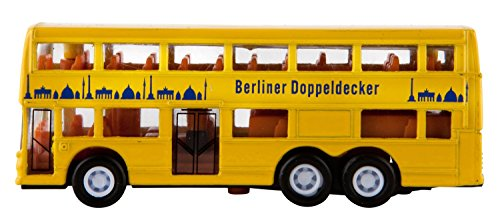 Idena 4229634 - Modellbus Berliner Doppeldecker, mit Freilauf, ca. 13 x 10 x 4 cm, gelb, als Spielzeug, typisches Souvenir oder beliebtes Sammlerstück