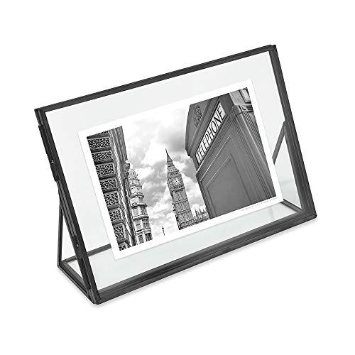 Isaac Jacobs - Marco de fotos flotante de latón y vidrio, color dorado envejecido, estilo clásico, color dorado envejecido