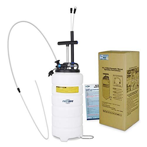 FIRSTINFO - Bomba extractora de aceite y fluido de 15 litros con manguera de almacenamiento + manguera de aceite de motor de 3,5 x 4,5 mm + cubierta antipolvo