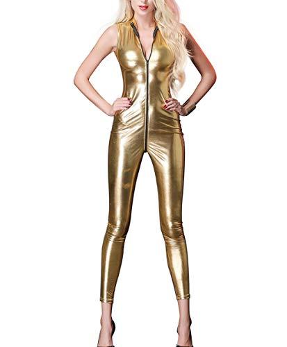 Panegy Damen Hosenanzug Ärmellos Overall Slim Fit Catsuit aus Lackleder Gold Größe XL