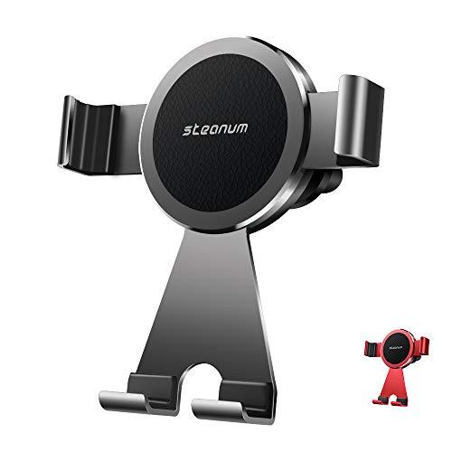 steanum Supporto Auto Smartphone, Metallo Universale 360 Gradi di Rotazione Porta Cellulare Auto per iPhone XS Max/Xs/Xr/X/8/7/6, Samsung S10/S9/S8/S7/S6/Note9/8 Huawei,Xiaomi,One Plus-Nero