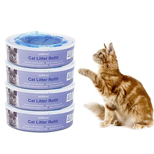 Signstek Sistema de eliminación de basura para gatos Casetes de repuesto para el contenedor de basura II (paquete de 4)