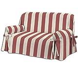 Home Life – Cubre sofá de 3 plazas – Elegante Protector de sofás a Rayas – Funda de sofá de algodón para Proteger del Polvo, Las Manchas y el Desgaste, Fabricado en Italia – Beige/Rojo