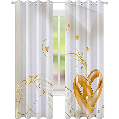 Cortinas para dormitorio, anillos de boda enredados en forma de corazón estilo 3D, diseño romántico, cortinas opacas de 52 x 84 para la sala de estar, caléndula blanca
