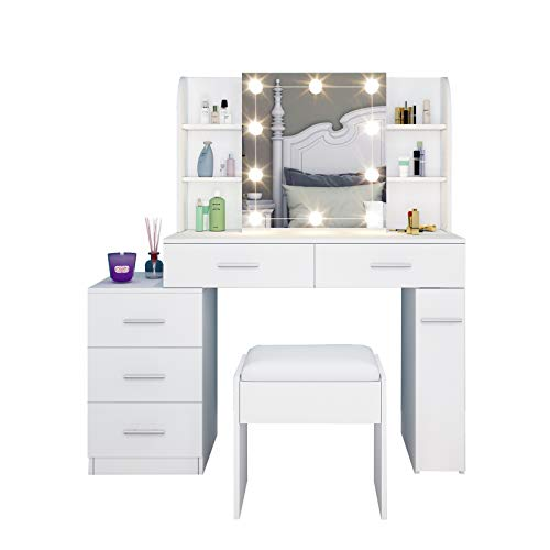 UNDRANDED Tocador con espejo deslizante y taburete, mesa de maquillaje con 5 cajones, juego de bombillas para dormitorio, color blanco