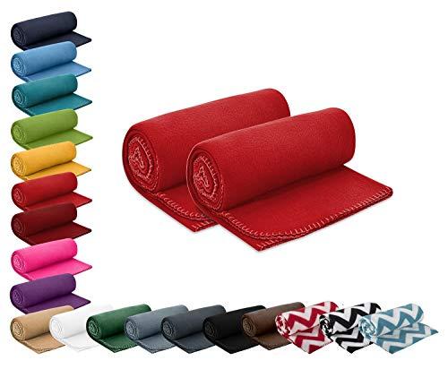 wometo 2er Set Polar- Fleecedecke 130x160 cm ca. 400g wertiges Gewicht mit Anti-Pilling Kettelrand Farbe rot in vielen bunten Farben