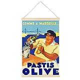 LAMTOR Retro-Poster Pastis Olive zum Aufhängen, gerahmt,