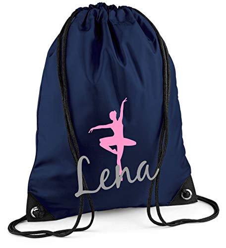 Turnbeutel mit Namen | inkl. NAMENSDRUCK | Motiv Ballett-Tänzerin | Personalisieren & Bedrucken | Sportbeutel Mädchen Kinder pink Ballerina lila (dunkelblau)