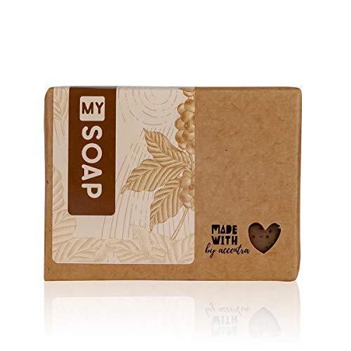 MY SOAP Peelingseife Natural by accentra,Schafmilchseife, Feste Seife, 100% natürlich, natürliches Peeling, handgefertigt in Deutschland, ohne Plastik, Duft: Kaffee