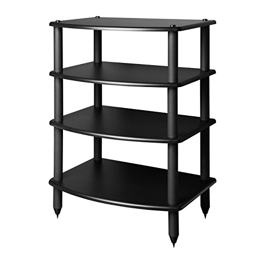 Pangea Audio Vulcan Four Shelf Audio Rack (Black) Media Stand, and Components Cabinet