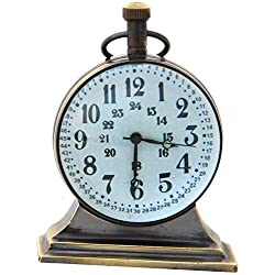 """JD'Z COLLECTION Brass Vintage Nautical Desk and Shelf Clock with Magnetic Compass, Numeric White Dial, Antique Finish for Study Table, Office, Bedroom, Living Room, Home Decor (3.5"""", Antique)"""