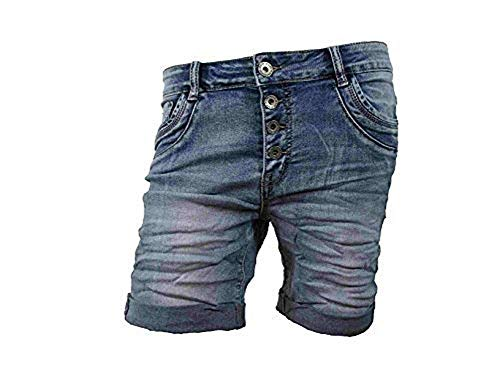 Denim Krempel Boyfriend Baggy Stretch Shorts Bermuda Knöpfe offene Knopfleiste (Weitere Farben) (XS-34, Denim)