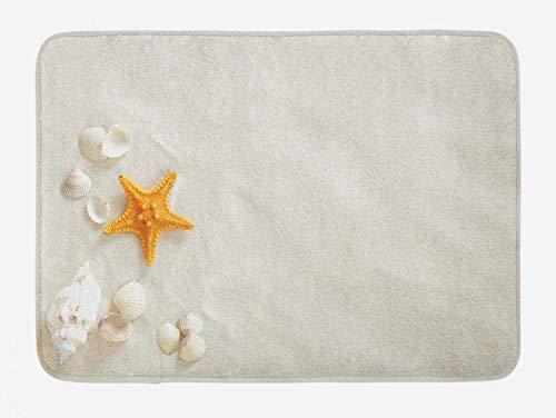 Lunarable Seashells Bath Mat, Beach and Yellow Starfish Marine Nature Sand Nautical Print, Plush Bathroom Decor Mat with Non Slip Backing, 29.5' X 17.5', Turquoise Coconut