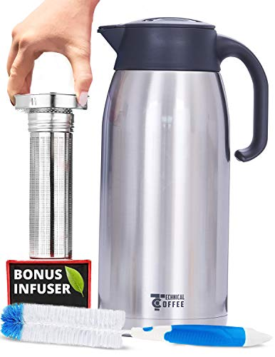 Hybrid Coffee Carafe Thermal 68oz/2L, Double-wall Vacuum Insulated Stainless steel pitcher/dispenser- Tea Carafe with fine mesh infuser for loose leaf tea, Coffee or Cold Brew, Brush included