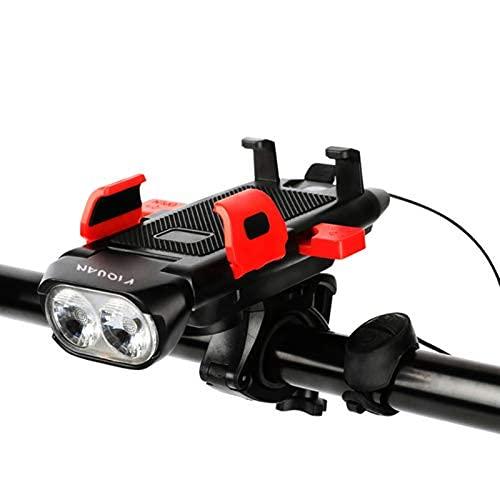 500 lúmenes impermeable faro de bicicleta, 3000mA carga USB trompeta soporte teléfono móvil, luz de advertencia de seguridad (rojo)