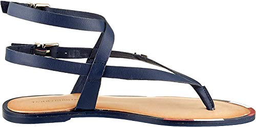 Tommy Hilfiger Damen Feminine Elastic Flat Sandal Zehentrenner, Blau (Sport Navy Db9), 40 EU