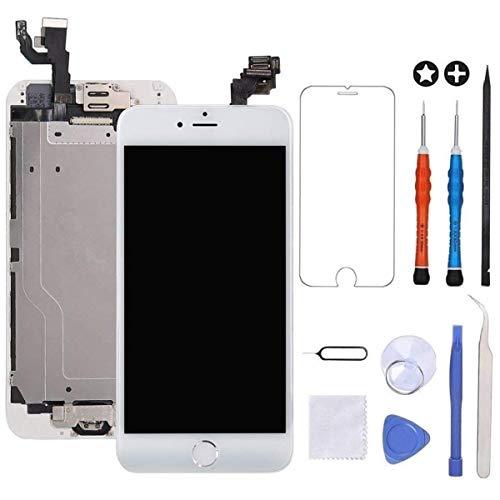 GULEEK Pantalla para iPhone 6 4.7' LCD Táctil Pantalla con Cámara Frontal,Sensor de proximidad,Altavoz, ensamblaje de Marco digitalizador y Kit de reparación (Blanco)