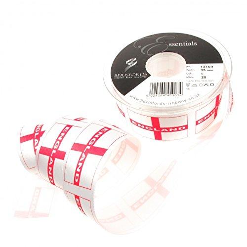 1 m X 32 mm Angleterre St George de Drapeau Rouge et Blanc Ruban Patriotique. pour la décoration, Emballage Cadeau, Fabrication de Cartes, travaux manuels et Scrapbooking.
