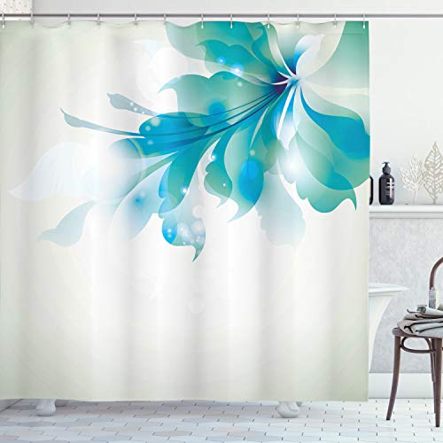 Ambesonne Abstract Shower Curtain, Big Single Abstract Blue Shades Ombre Flowers Artwork, Cloth Fabric Bathroom Decor Set with Hooks, 84' Long Extra, Eggshell Turquoise
