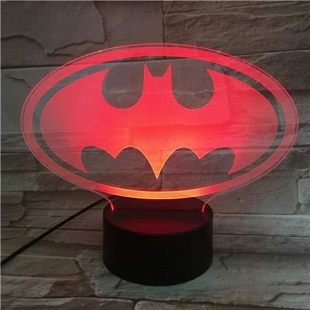 3D Nachtlicht, Usb 3D Led Nachtlicht Dc Gerechtigkeit Liga Für Batman, Logo Cartoon Superheld Jungen Kind Kinder Geburtstag Geschenke Tischlampe Nachttischlampe, Touch Control