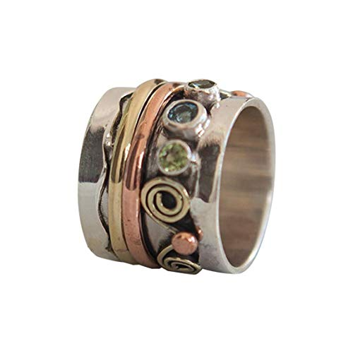 925 Sterling Silver Copper and Brass Tri Tone Metal Meditation Spinner Ring Fidget Anxiety Relief Ring Wide Band, Anti Stree Ring, Worry Ring, Spinning Ring - Ring Size US6