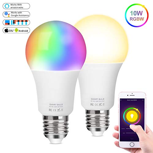 Bombilla WiFi LED Lámpara Inteligente Regulable 10W 900Lm E27 RGBW Multicolor Bombilla Luz Cálida/Fría Compatible con Alexa Echo Google Home IFTTT, Lámpara Control Remoto, No Se Requiere Hub, 2 Pcs