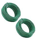 Desconocido Pack 2 Alambre de JardínAcero Recubierto de Plástico 30Metros/ Alambre de Jardín/Alambre Plastificado/Cuerda de Alambre Plastificado para Jardinería Hogar y Oficina 2 Rollos 30m (Verde)…