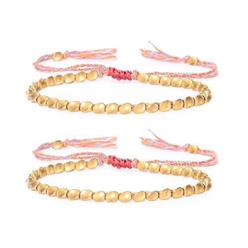 VU100 2PCS Tibetan Copper Beads Bracelet,Handmade Tibetan Buddhist Bracelet Braided,Adjustable Lucky Rope Bracelet Bangles for Women Men Unisex Bracelets
