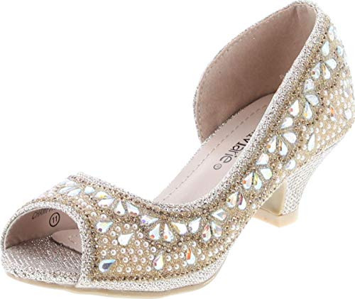 Bella Marie Truly-8 Fashion Rhinestones Kids Peep Toe Slip On Girls Kitten Heels Sandals Dress Shoes (Champagne, 2)