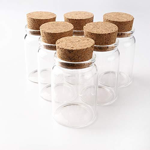 JIUYUE Botellas pequeñas, viales de cristal con corcho, tarros de boticario con corcho
