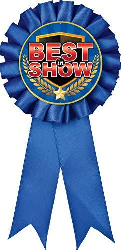 Best in Show Blue Rosette Ribbon, Best in Show Trophy Ribbon Award Prize, 10 Pack