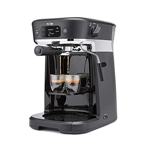 Mr. Coffee All-in- One Occasions Specialty Pods Coffee Maker, 10-Cup Thermal Carafe, and Espresso with Milk Frother and Storage Tray, Black