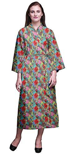 Bimba Verde Turquesa Floral Hojas Tropicales y Bata de baño Kimono Mujer Impresa Bata Kimono para niñas Batas Cruzadas Bata de baño para niñas X